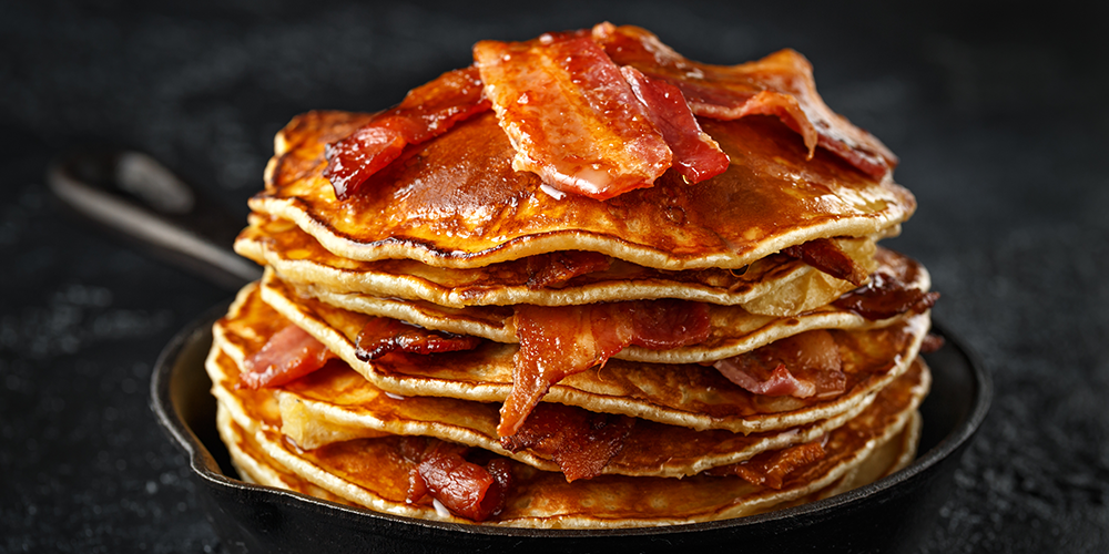 Maple Bourbon Butter Bacon Pancakes
