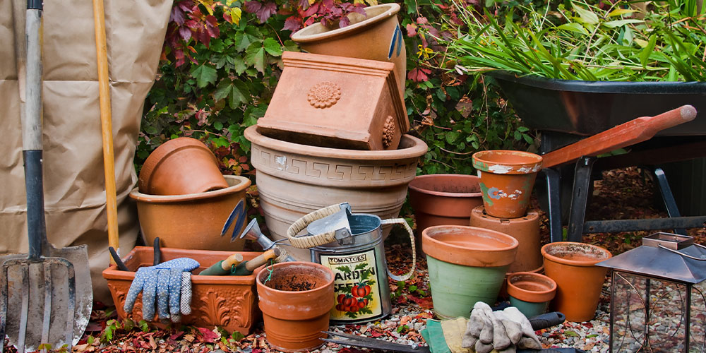 stacked up garden pots for winter Wallace's