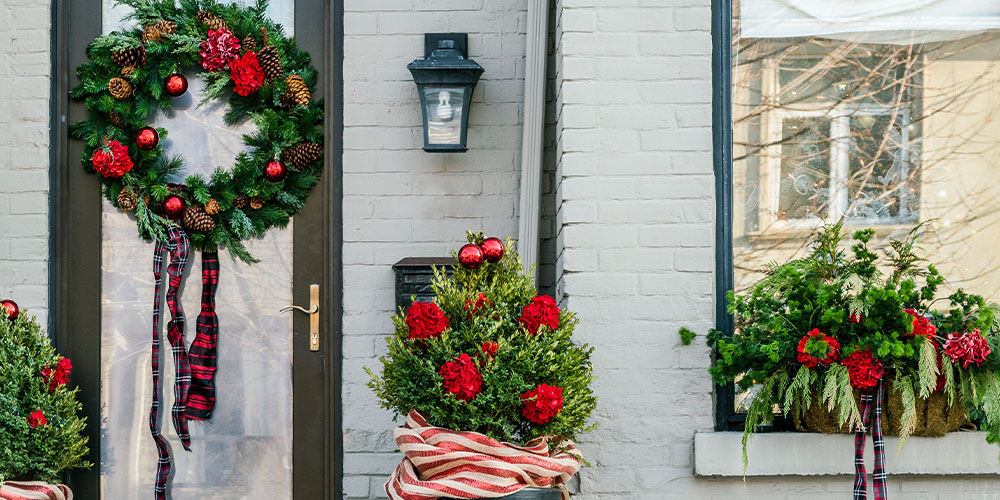 evergreens holiday decor outdoors
