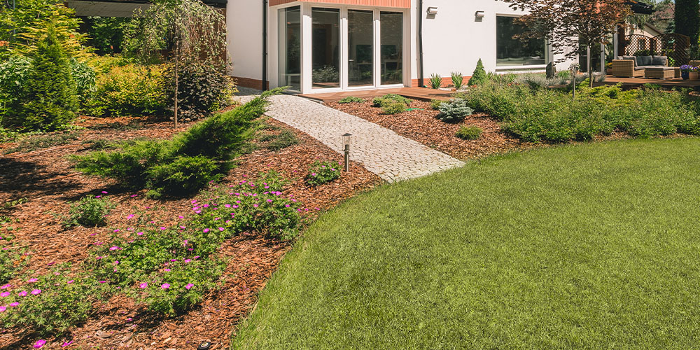 mulched garden at home